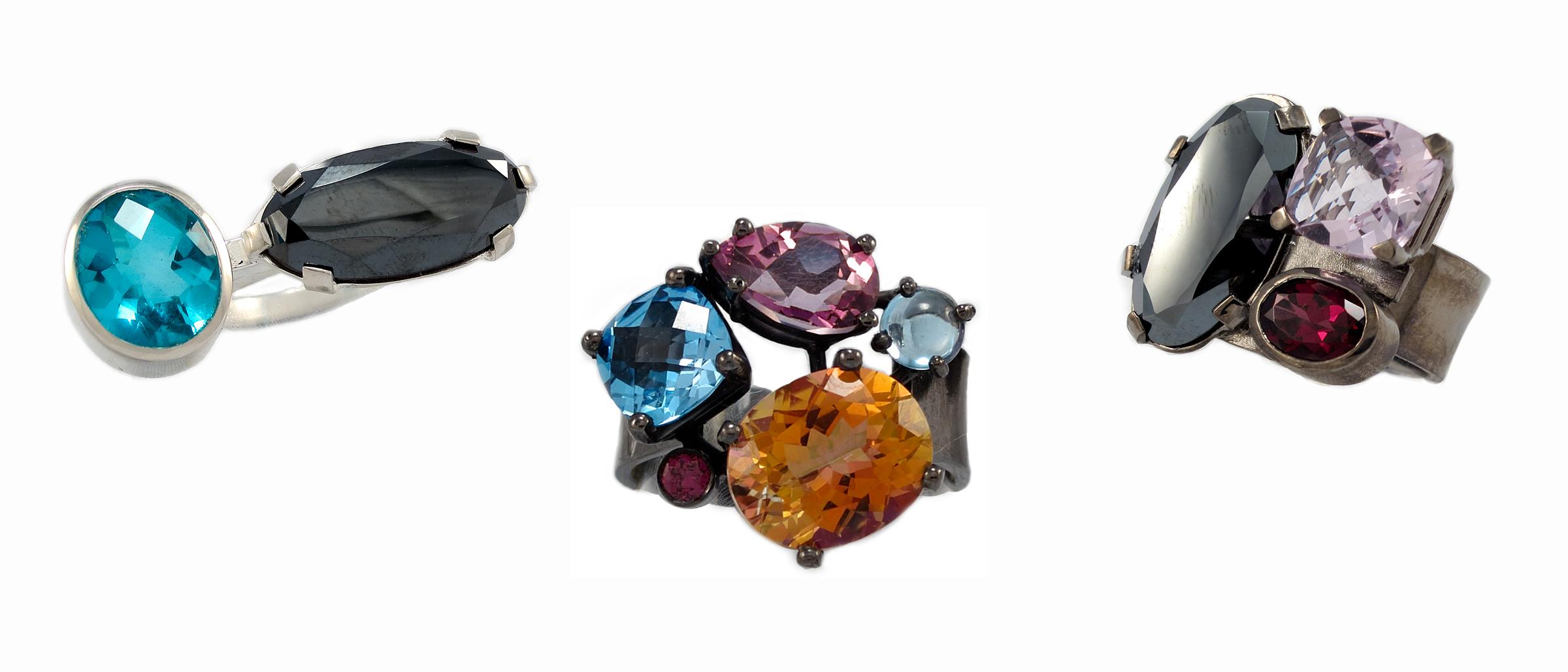 Multi-gemstone rings