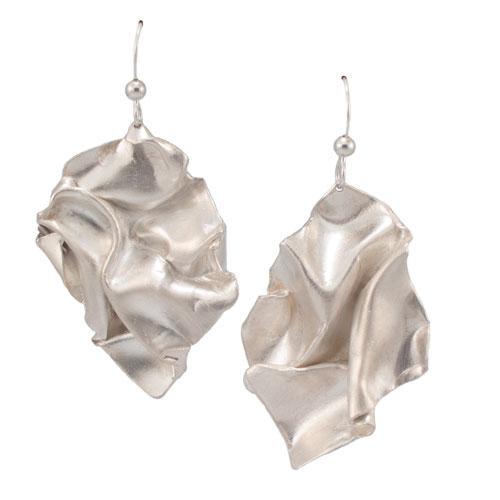 Fold, silver solid drop earrings