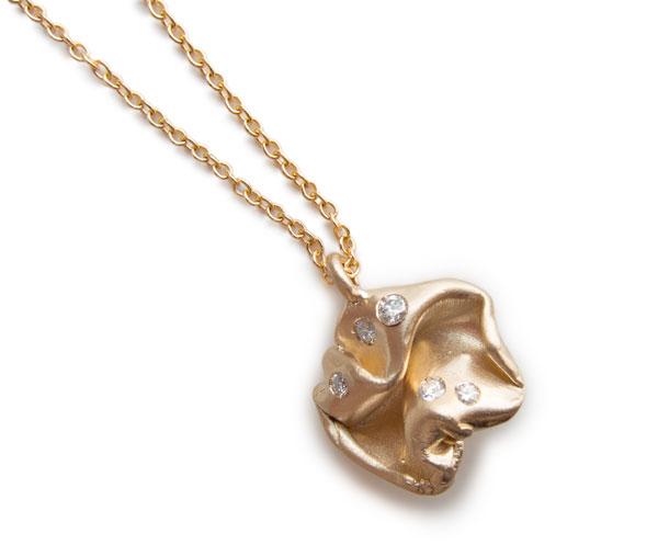 Fold, 14k pendant