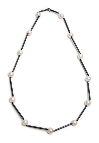 """Pearl Station, 18"""" black necklace"""