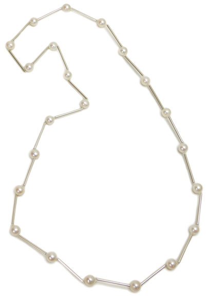 """Pearl Station, 28"""" silver necklace"""