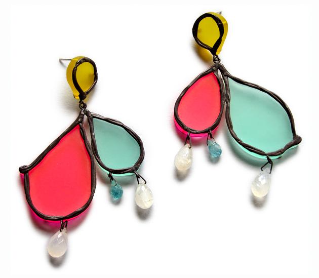 Neon Tears, tri-colour earrings