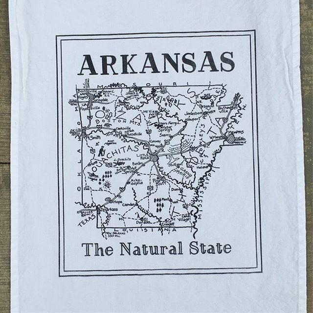 Arkansas kitchen towels and prints...DONE! Check bio for link. #letterpress #arkansas #teatowel #map
