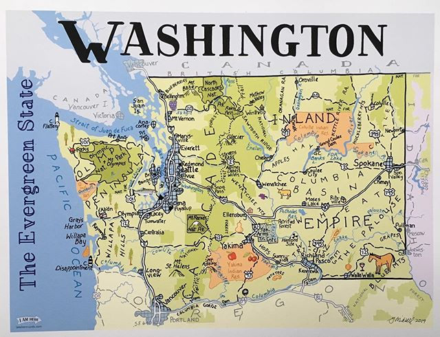 New full color version of Washington! #mapart #penandink #cartographyart #washingtonstate