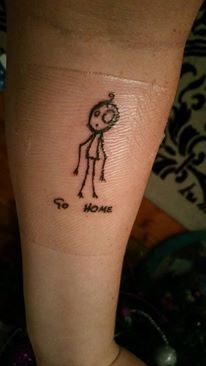 "Fresh tattoo of ""Go Home"" thanks to the lovely folk at Wolf and Wren"