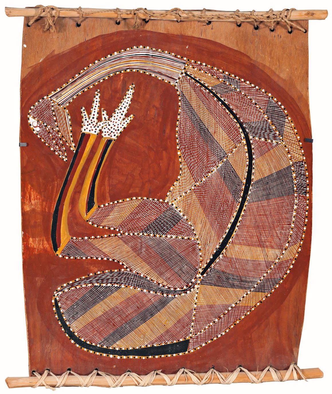 PHOTO ABOVE: Year - 1980 | Medium - earth pigments on Stringybark (Eucalyptus tetrodonta) | Dimensions - 47 x 38 x 5cm | Credit - Private collection, Melbourne | Copyright - © John Mawurndjul/Copyright Agency, 2019