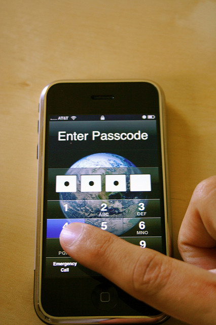 Users enter a passcode to use or access data on an iPhone.    Pieter Ouwerkerk    CC-BY-NC-2.0