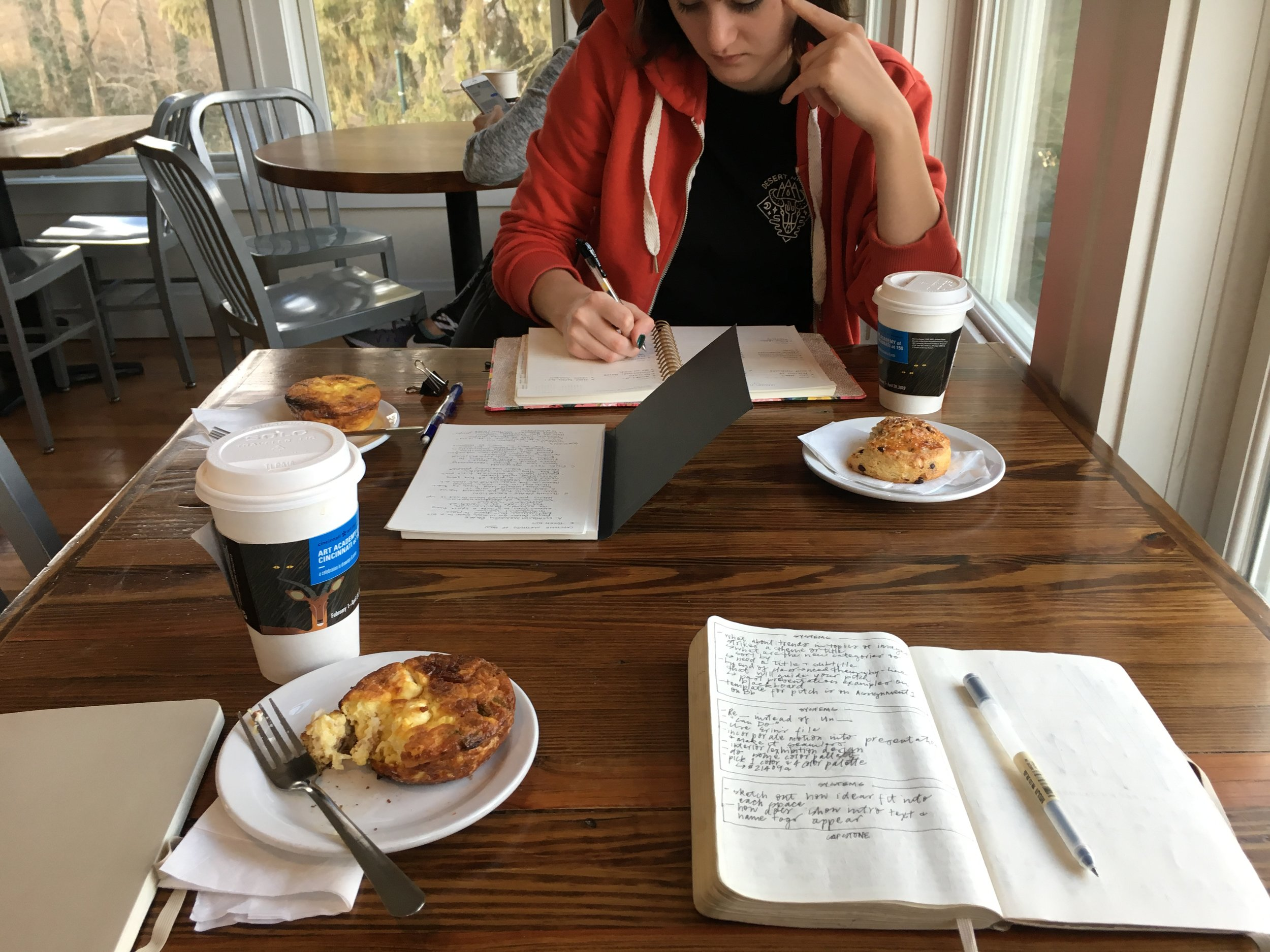 Did some work at Coffee Emporium with my pal, Katy. We talked through our ideas and did some analog work before doing more digital work.