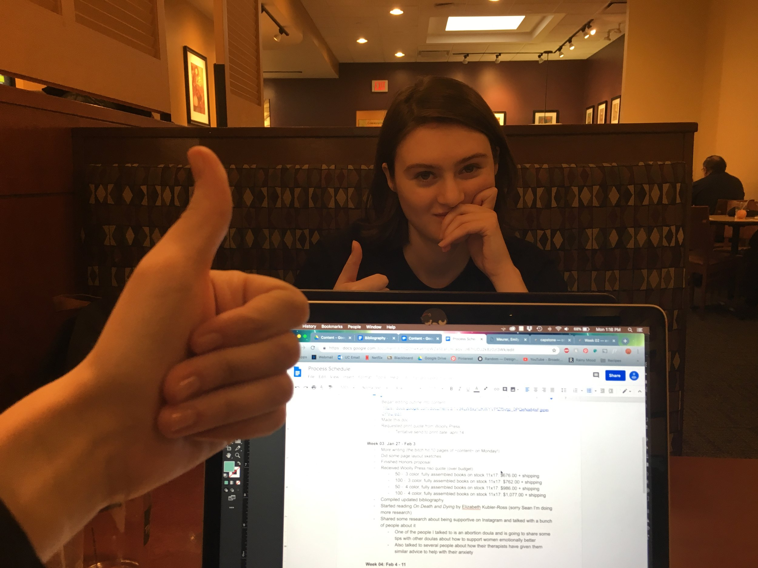 Look at us being productive at Panera while we eat soup!
