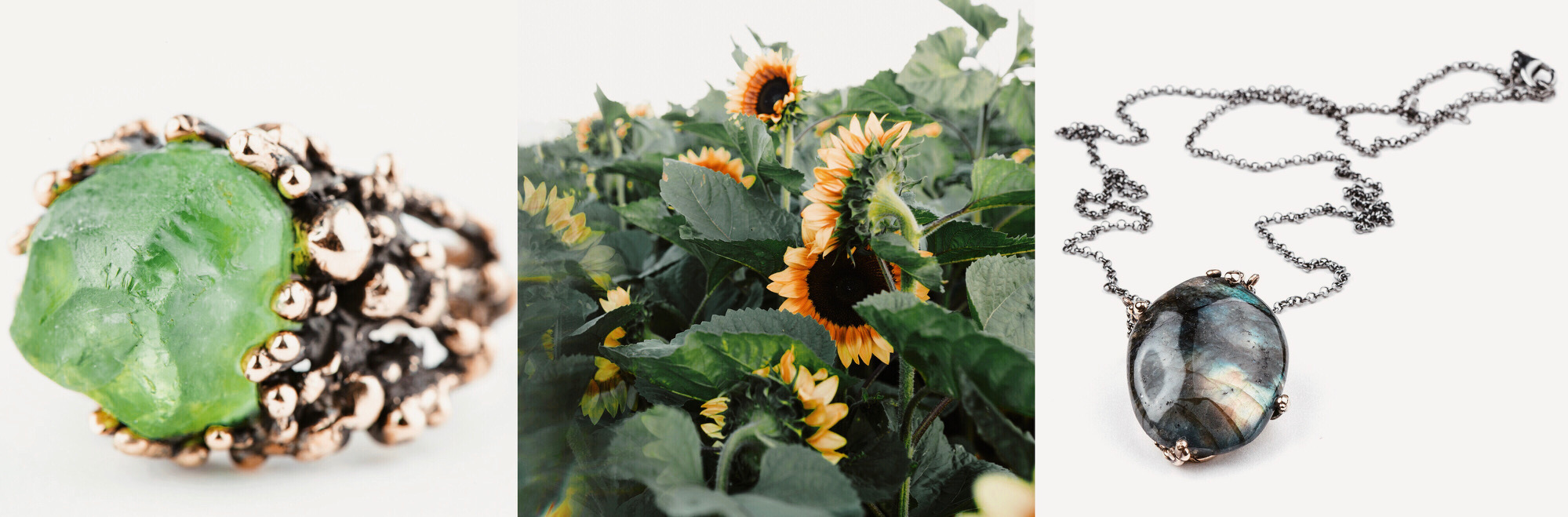 Sunflower photo by Cara Juliett, Jewelry photos Giardinoblu Jewelry