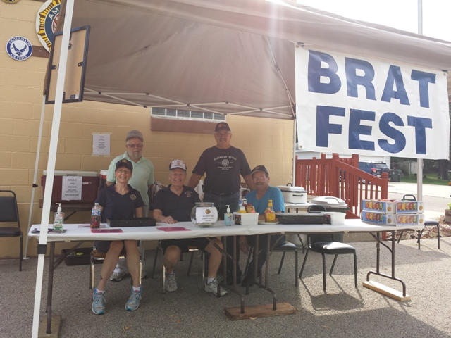 Legion members enjoying fun times at the Brat Fest. Stop by and join them.