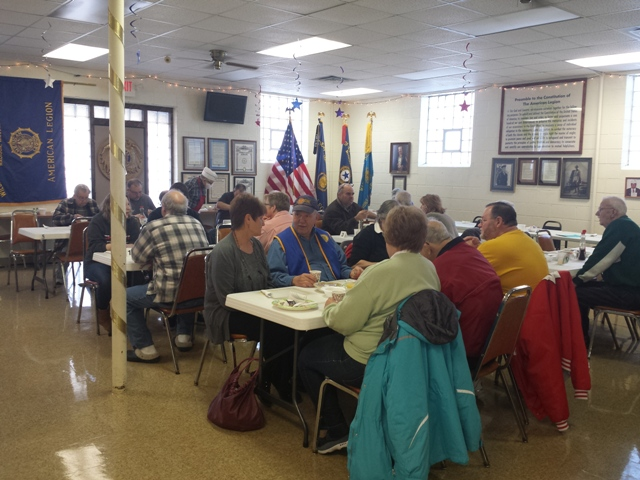 The word is out on Post 501's monthly breakfast - tables are full.