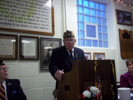 Post 501 Cdr., Tom Stolarcyck, presenting at Post 501's Birthday Dinner, 3/19/2016