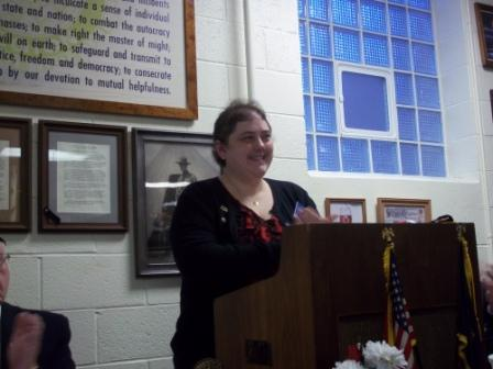 Auxiliary Unit 501 President, Rebecca Lovell, presenting at Post 501 Birthday Dinner, 3/19/2016