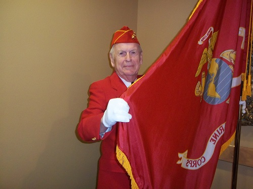 Legionnaire Phil Ingwell demonstrating his pride in Marine Corps.  This is our Post 501 recruiting photo for new Marine Corps veterans.  11-11-2016