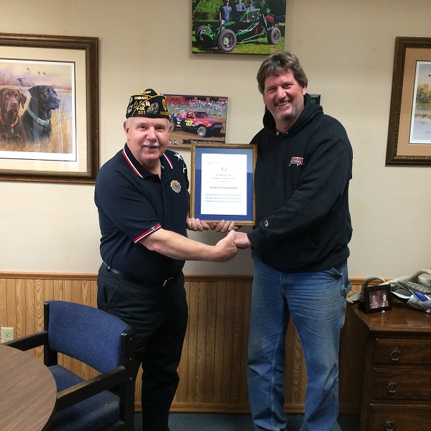 Post Cdr Tom Stolarczyk presents Post 501 Legion certificate to Guy Semkowski, owner of Poynette Iron Works for Kneeling Prayer Soldier metal siloutte donated for 2016 State Convention.