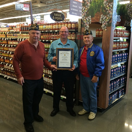 Post Cdr. Tom Stolarczyk, presenting Post 501 Legion Award to Tim Smith, Mgr. Metro Mkt., for their support during 2016 fundraising, Finance Off. Phil Ingwell assisting.