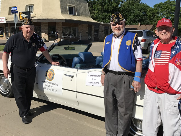 Post 501 participates in Memorial Day Parade, Monona, WI on 5-29-2017, Cdr. Tom Stolarczyk, Legionnaires:  Jim Schuhart, Arne Dahl, & Charlie Powers in Monona, WI.