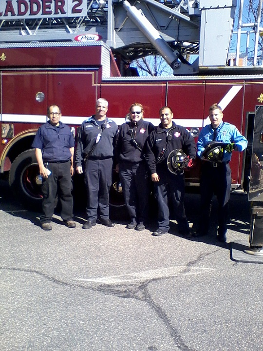 Here is the Madison Ladder Company #2, along with the Hotel Engineer. Smiles around for a job well done.