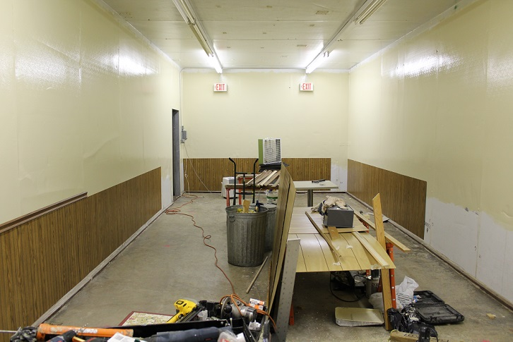 History/Auxiliary meeting room wainscotting installation in progress, 7/24/2017.