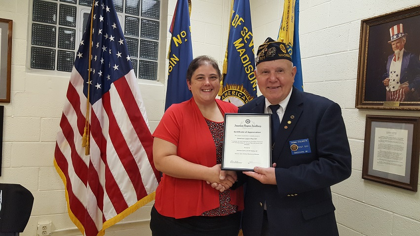 Unit 501 President Rebecca Lovell presenting Cert. of Appreciation to Post 501 Cdr. Tom Stolarczyk on 8/9/2017.