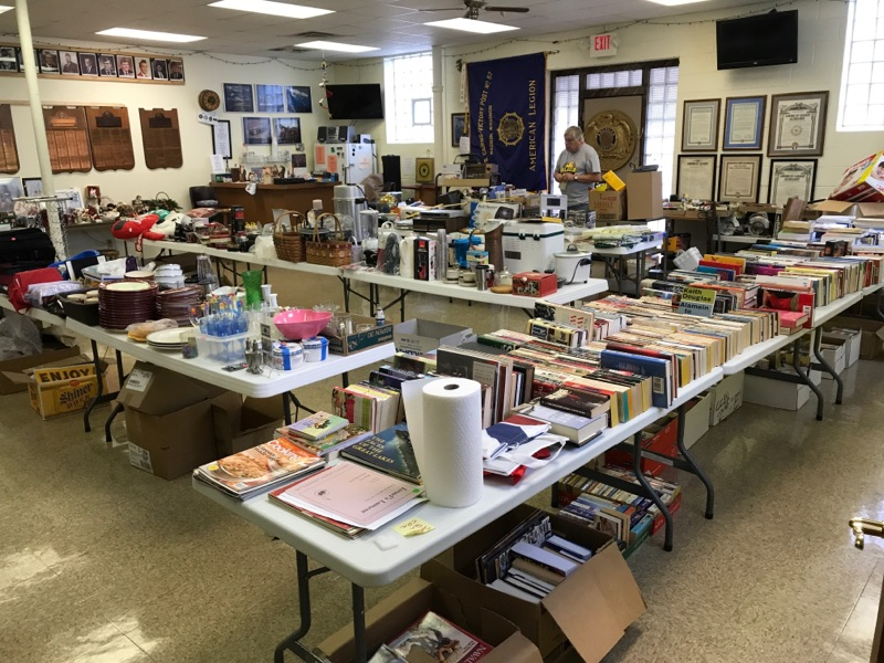Setup for Post 501's garage sale & book sale in Legion hall on 9/22-23/2017.