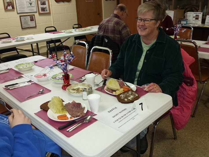 Colleen enjoying Post 501's corned beef dinner, 3/11/2017.