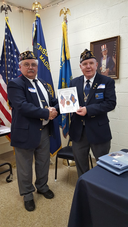Cdr. Tom presenting Keith Lovell with his 40 year SAL Membership Award, 3-24-2018.