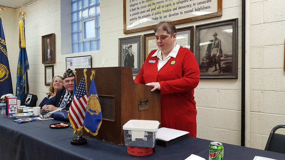 Auxiliary President Rebecca Lovell giving her presentation at the Post 501 Birthday Dinner, 3-24-2018.