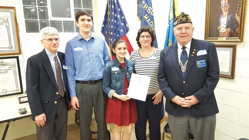 Cdr. Tom awards Post 501's Volunteer of the Year Award to Victoria Boerke & Family, 3-24-2018.