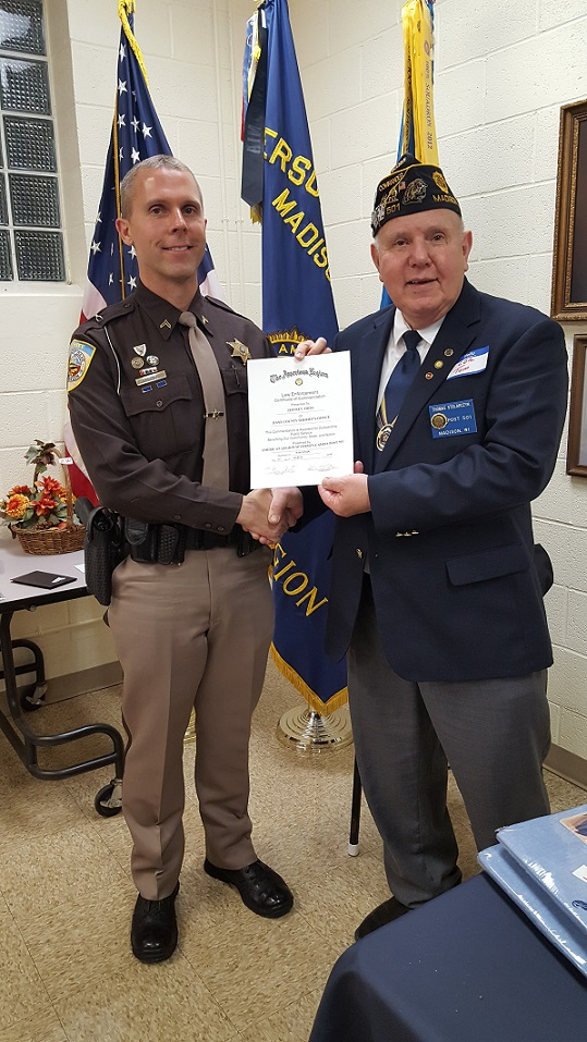 Cdr. Tom presenting Deputy Sheriff Jeffrey Thiel Post 501's Law Enforcement Officer of the Year Award, 3-24-2018.