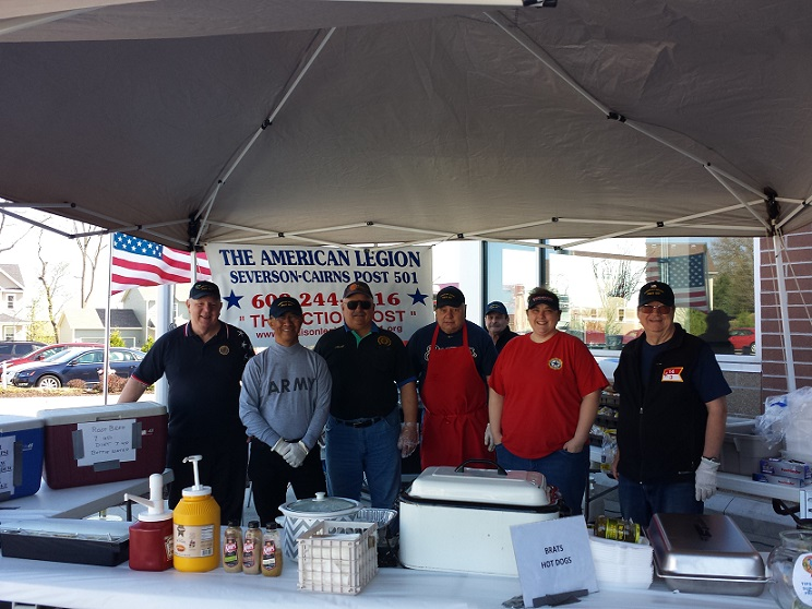 Post 501 Brat Fest volunteers at Metro Mkt.on 5-5-2018:  Cdr Tom, Romeo, Keith, Jerry, Rich, Rebecca, Bill, Chris (not pictured).