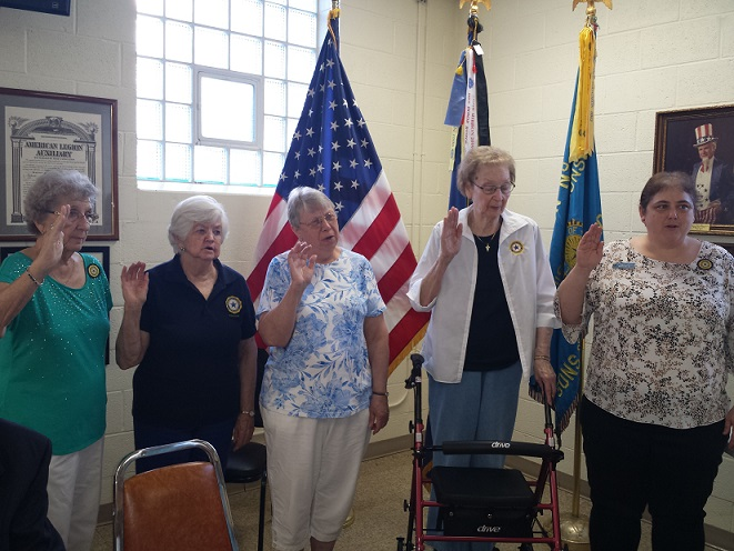 Auxiliary Unit 501's 2018-19 Officers:  Secretary (appointed), Ellie Paulson; Chaplin, Betty Ingwell; Treasurer, Sonja Albright; Vice President, Marge Clark; President, Rebecca Lovell (6-13-2018).