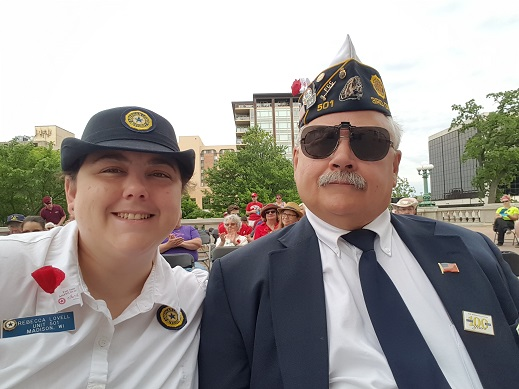 Post 501 Legion members, Keith Lovell and Rebecca Lovell, attending State Capital Memorial Day Service in Madison on 5-28-2018.