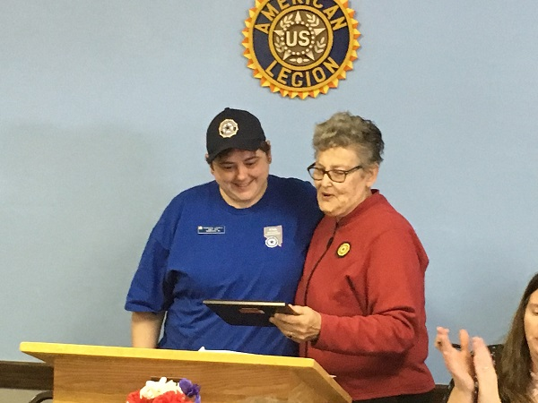 President Rebecca Lovell receiving award from Middleton Memorial VA Hospital Auxiliary Representative, Rosie Winger on 4-28-2018.