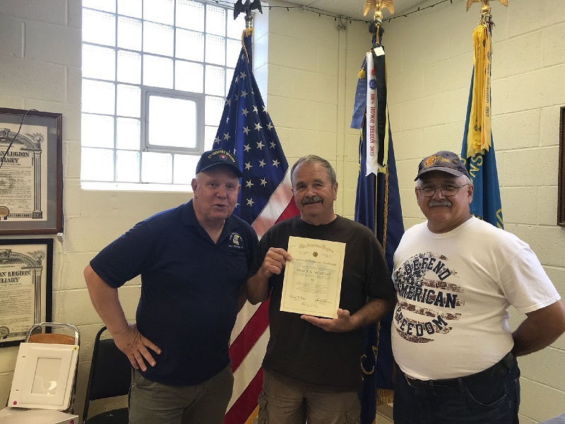 Post 501 Cdr. Thomas Stolarczyk & 3rd District Cdr. Keith Lovell presenting Patrick McEvilly with 50 year certificate.