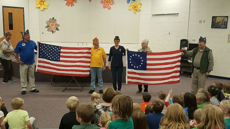 After the flag soup was made, out came the current 50 star American flag, and it was compared the first Betsy Ross flag - 10-9-2018.
