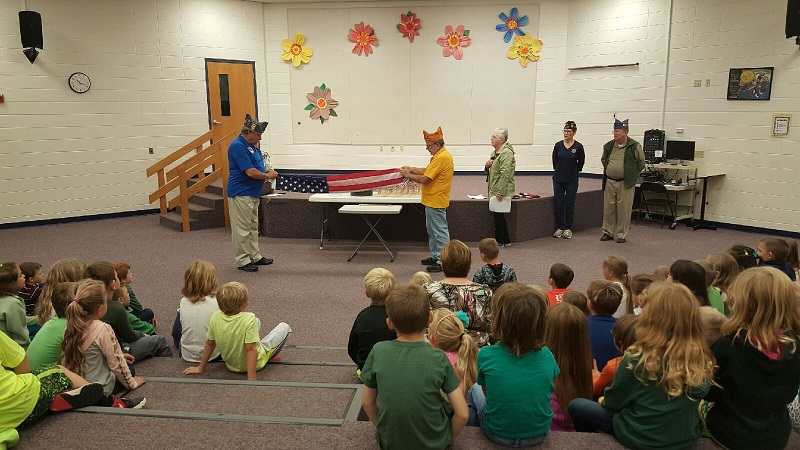 1st graders were shown how to properly fold the flag - 10-9-2018.