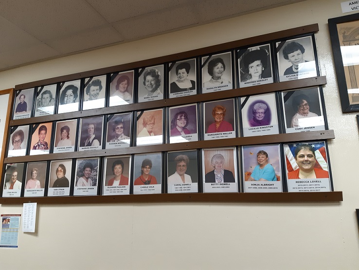 A photographic history of all Unit 501's Auxiliary Past Presidents can be found on this wall.