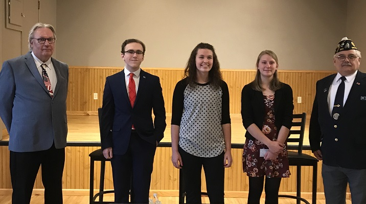 Third District Oratorical participants met at Post 214, Darlington, WI, on Jan. 13, 2019.  The participants are:  Carter, Senior Monona Grove High School, sponsored by Post 501, Madison; Natalie, Senior Argyle High School, sponsored by Post 251; and Nicole, Freshman Barneveld High School, sponsored by Post 433.
