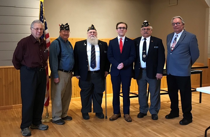 Selected members from Madison Legion Post 501 include: John, Bill, Rick, Carter, our selected participant; Keith, Third District Cdr.; and Howard,  Third District Americanism & Oratorical Chairman, Post 170, Mineral Point.