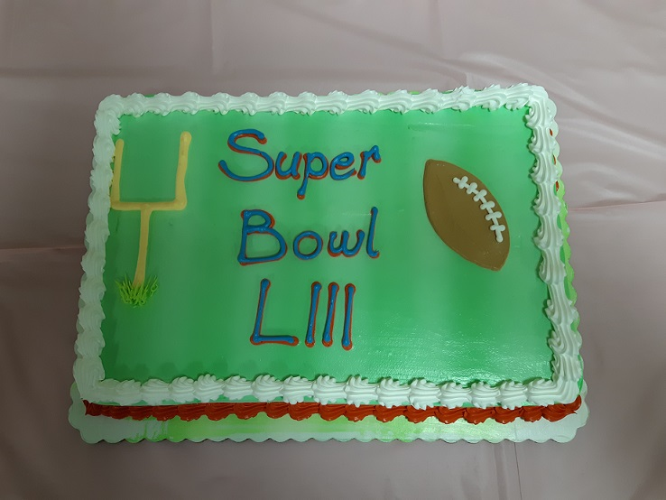 Celebration Super Bowl 53 cake, if Packers were playing team names would be added.