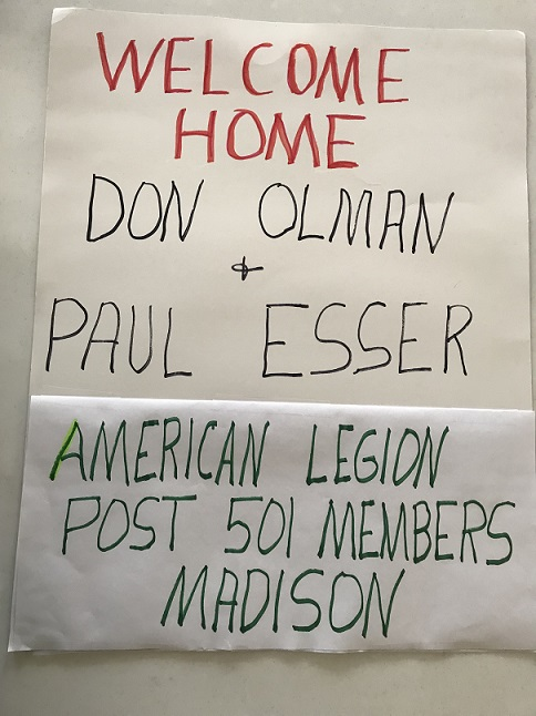Post 501 members welcomed home 2 of our members, Don Olman & Paul Esser, from Badger Honor Flight on 4/20/2019.