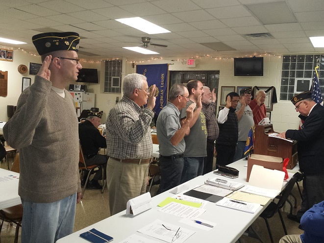 New members to Post 501 swearing their allegiance to the American Legion on 11/8/2017.