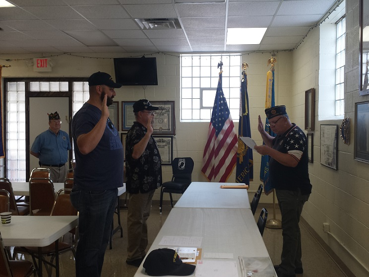 Two new members, Andrew Bajakian & Mike Rhodes, are initiated into Post 501 on 8/13/2018.