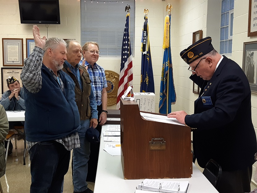 Three new members, Joe Rane, Joe Prebeg, & David Primus, are initiated into Post 501 on 4/10/2019.  Our membership continues to grow.