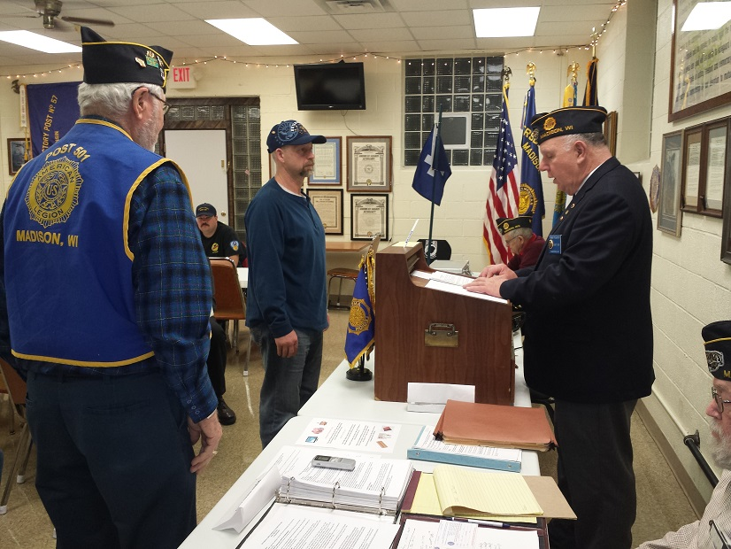 Post 501's new member initiation for Alan Kromanaker on 4/11/2018.