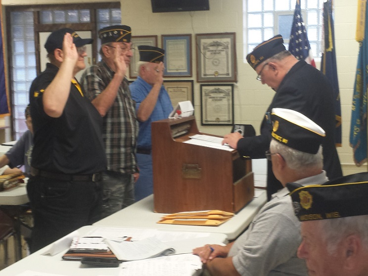 Three new members, Benito Cuevas, John Gaska, & Thomas Nord, initiated into Post 501 on 8/8/2018.