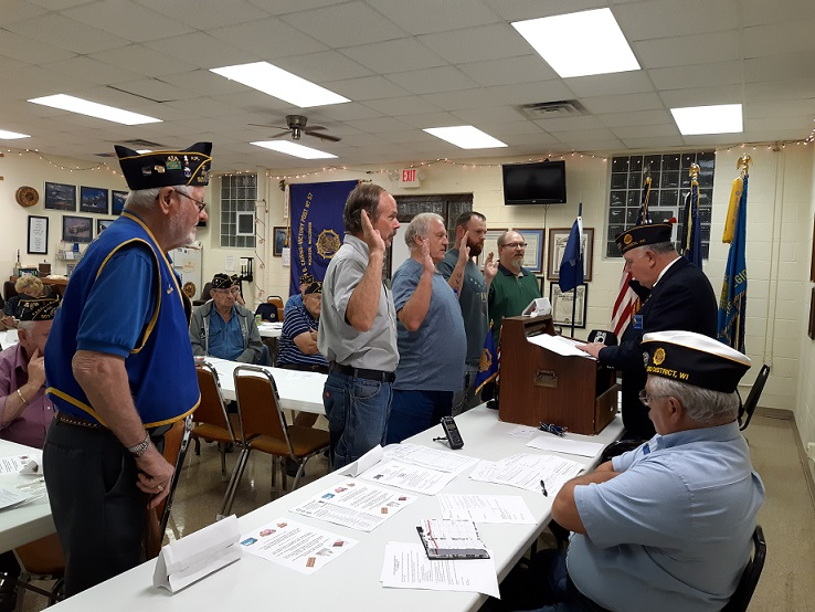 Four new members, Steve Huemmer, Joshua Nichols, Gary Dobbs, & Dave Sersch, initiated into Post 501 on 10/10/2018.
