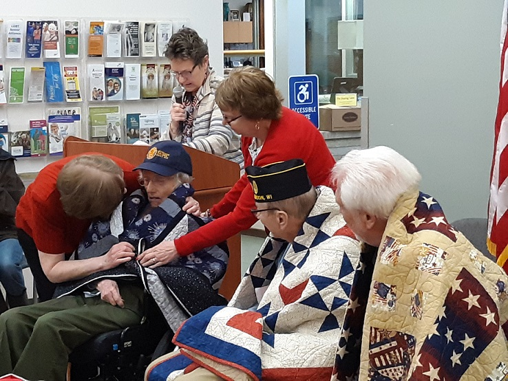 Quilt presented to Sherry Schaefer by Sugar River Chapter of the Quilts of Valor.